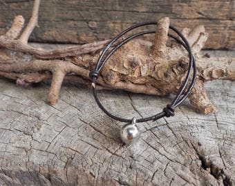 Silver Bead Ball Adjustable Leather Bracelet, Simple Leather Bracelet, Unisex Bracelet