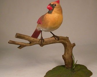 Female Northern Cardinal Hand Carved Wooden Bird on wooden branch