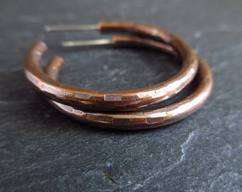 Copper hoop earrings, hammered hoops, hoop with post fitting, oxidized finish, copper wedding anniversary gift, jewelry for women, metalwork