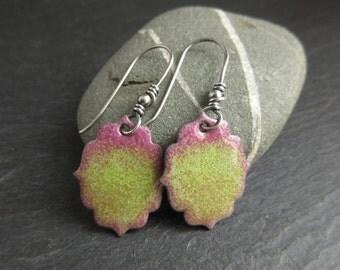 Green and pink enamel earrings, enamel on copper, fancy shape earrings, copper enamel jewelry, torch enamel jewelry, colourful earrings