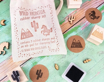 Wild Frontier Rubber Stamp Set - Cactus Stamper - Mountain Stamp - Mini Stamps - Horse Stamp - Wild West Theme Stamps - Cowboy Boy stamps