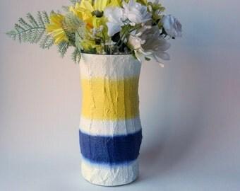 Vase / white, yellow, navy blue vase / nautical home decor / Painted Vase