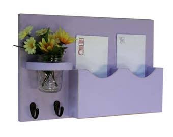 Mail Organizer - Mail and Key Holder - Letter Holder - Double Slots - Key Hooks - Jar Vase - Organizer - Painted Distressed Wood