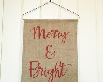 Burlap Christmas banner art wall hanging