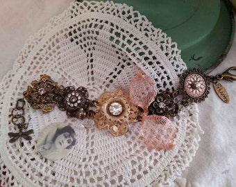 Beautiful Filigree Flower Bracelet,  Boho Bracelet, Lagenlook, Southern Charm Bracelet, Mixed Media Bracelet
