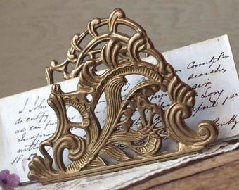Ornate Brass Letter Holder - Ornate Brass Mail Holder - Brass Desk Organizer Catch All