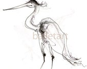 Holiday sale Couture Flamingo art, bird art, pencil drawing, black and white art, art print, flamingo print, bird illustration, bird artwork