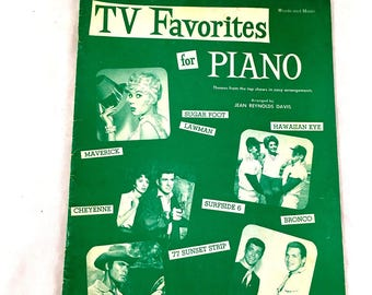 1961 TV Favorites for Piano Sheet Music Book. Maverick, Hawaiian Eye, Cheyenne, Surfside 6, 77 Sunset Strip, The Roaring Twenties, songbook