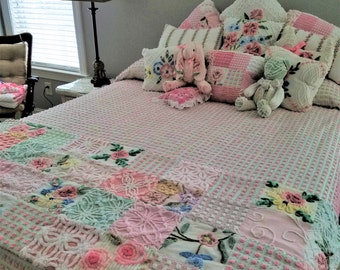 Boutique Quality Vintage Chenille - Roses and Wildflowers - Custom Bed Scarf / Bed shawl / Bed Runner/ Scaldino