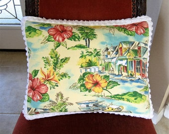 "Beach Themed Waverly ""Cabana Village"" Toile and White Vintage Chenille Pillow 14"" x 20"" Feather Insert Included"
