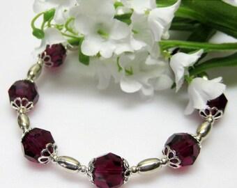 40% off Ruby Swarovski Crystal and Sterling Bracelet - Birthday Gift - Red Crystal Bracelet - July Birthstone Bracelet - Plus Size Bracelet