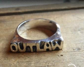 Sterling Silver OUTLAW Handmade cast Men's Biker Ring Size 9.25. Big Men Guy Apocalypse Grunge Knuckle Statement Block Word