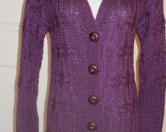 Purple wool blend cardigan no. 283