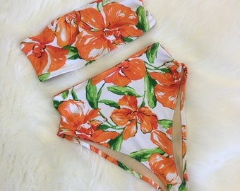 Floral Bandeau high waist swimsuit