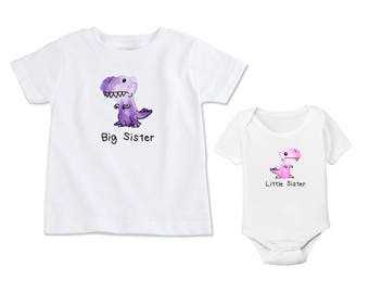 Dinosaur Watercolor Big SisterLittle Sister - Matching Shirts Set New Sibling