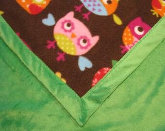 Baby Blanket Owl Fleece and Green Minky
