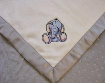 Baby Blanket Fleece White Fleece Gray Star Minky with Elephant Ready to Ship