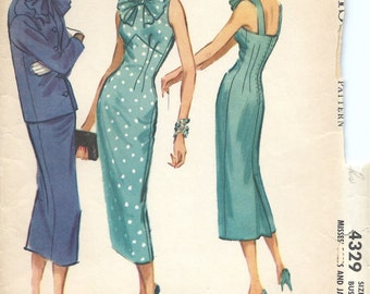 Rare 1950's McCall's Pattern No. 4329 - Elegant Fitted Dress with Jacket , Starlet Dress , Grace Kelly , Bust 34