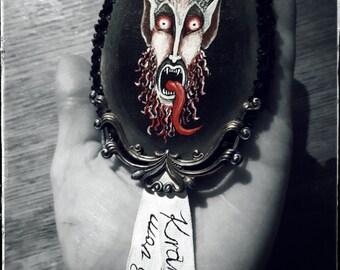 Reserved - Krampus pin - handpainted, gothic, dark art, Xmas badge