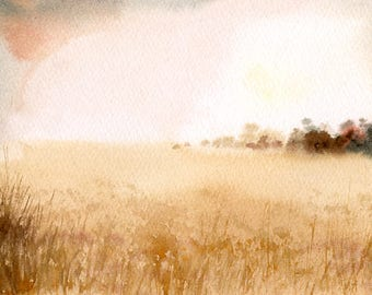 Landscape Original watercolor painting 7x5inch