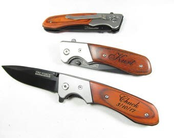 Brother Gift, Custom Folding Pocket Knife, Spring Assist Open, Groomsmen Gift Knife, Rustic Wedding Favor, Etched Gifts, Groom Gifts, 469