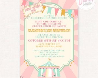DIGITAL Pink Circus Invitation, 5 x 7, Big Top, Carnival, Birthday, Baby Shower Invitation, Customized w/ Your Wording, JPEG or PDF File