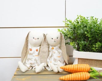 Stuffed Bunny, Bunny Doll, Easter Decor, Easter Bunny, Spring Decoration, Muslin Rabbit, Stuffed Rabbit, Woodland Creature, Woodland Critter