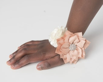 champagne corsage, cream wedding corsage bracelet, wrist corsage, prom corsage, mommy to be corsage, baby shower corsage, mom to be corsage