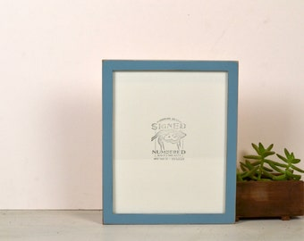 8x10 Picture Frame in Peewee Style with Vintage Smokey Blue Finish - IN STOCK - Same Day Shipping - 8x10 Photo Frame Solid Hardwood