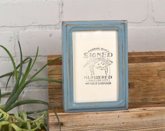 4x6 Picture Frame in Rounded Deep Double Cove Style with Vintage Smokey Blue Finish - IN STOCK - Same Day Shipping - 4 x 6 Photo Frame Blue