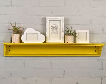 Handmade 30-inch Long One Level Wall Shelf with Super Vintage Yellow Finish - IN STOCK - Same Day Shipping - Wooden Display Shelf