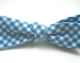 Lavender and Aqua Bow Ties Plaid Bow Ties Aqua Bow Ties Lavender Bow Ties Wedding Bow Ties Mens Bow Ties
