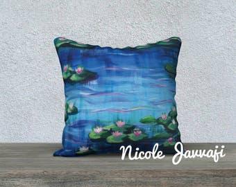 Lilypad Pond Blue Pillow Case 18x18
