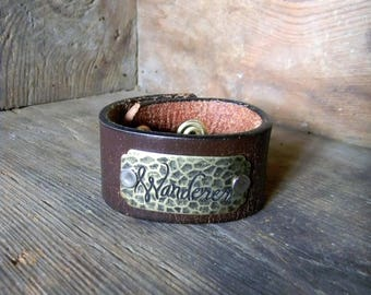"Leather Cuff Bracelet, ID Tag Cuff Bracelet ""Wanderer"" Wide Leather Cuff, Worn Brown Leather Cuff, Boho Leather Cuff Bracelet Adjustable"