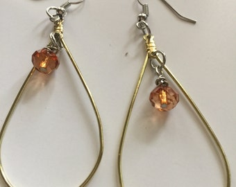 Brown Dangle Earrings, Brown Hoop Earrings, Beaded Hoop Earrings, Beaded Dangle Earrings, Brown Beaded Hoops, Brown Beaded Dangles