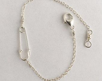 Sterling Silver or 14K Goldfilled Safety Pin Bracelet