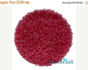Beads On Sale - DB-0778 11/0 Miyuki Delica Seed Beads - dark rose fuchsia seed beads - transparent matte dyed beads - round cylinder seed be