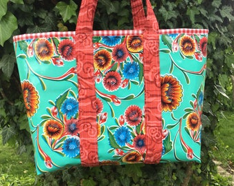 Bloom--Large reversible  floral oilcloth tote bag