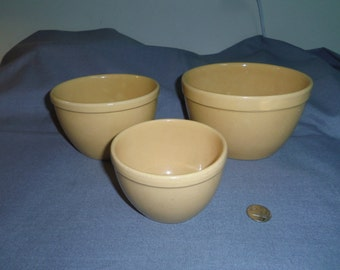 """Pottery Yellow Ware Nesting Bowls, Small Unmarked 4"""" tall, 4.25"""", 5.5"""" and 6.5"""" top dia."""