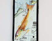Red Drum NOAA Chart iPhone case fits iPhone 6 and 7 Nautical Outer Banks inshore fishing Galaxy