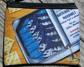 Hatteras Style Mardines art Coin Purse zippered pouch neoprene Marlins in sardine can