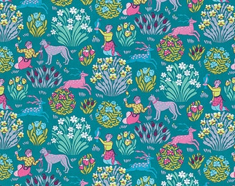 Splendor Fabric by Amy Butler Forest Friends Tame Animals Floral Bushes on River Blue