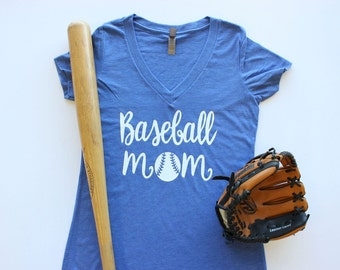Baseball Mom V-Neck Shirt  / 7 Color Options  Baseball Softball Team Spirit.  ballpark tee