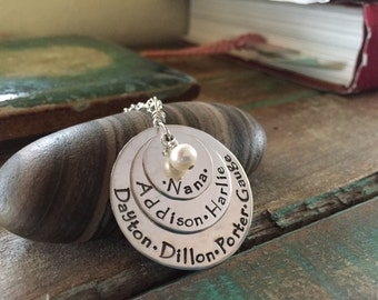 mother, grandmother, hand stamped, personalized necklace with family, children's names