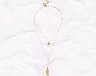 Desert Dreams Layered Lariat Necklace  - dainty - 14k - gold - layered - sparkly