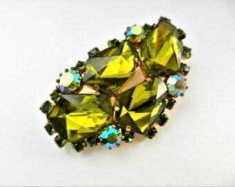 Unusual cut green Art Glass stones European brooch - lively green pebbles illuminated by Aurora Borealis - Unique Cut Stones pin - Art.707/4