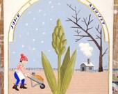 Gardening through the ages - ORIGINAL illustration for Gardening Australia magazine, 2016