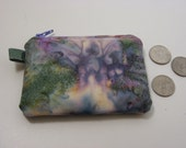 HOLIDAY SALE  Free US Shipping. Zipper Coin Purse, Change Purse, Keyring Purse. Purple and Blue Batik. Ready to ship.