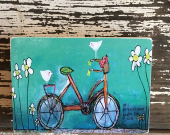 Bicycle with bird, whimsical art, teals, aceo reproduction print( 2.5 x 3.5)