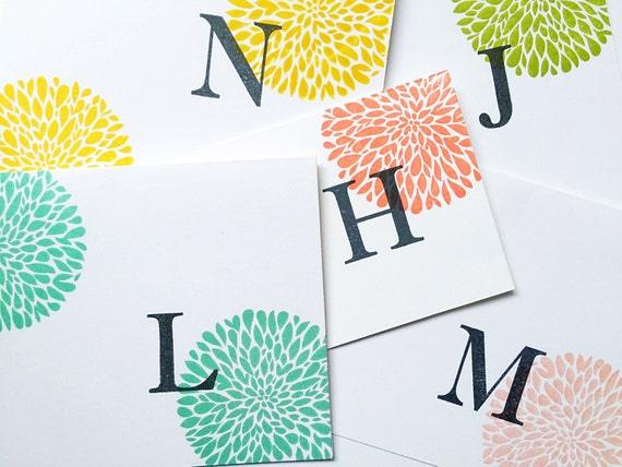 Initial Stationery. Personalized Gifts Stamped Card Set. Personalized Cards. Colorful Monogram Gifts. Letter Notecards. Gifts for Teens.